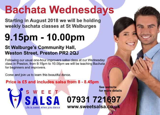 Bachata class Wednesdays in Preston