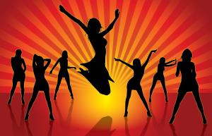 silhouette of seven ladies dancing