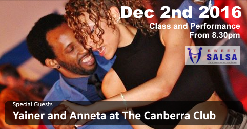 Yainer and Annetta Cuban Salsa dancers coming to Sweet Salsa party December 2016