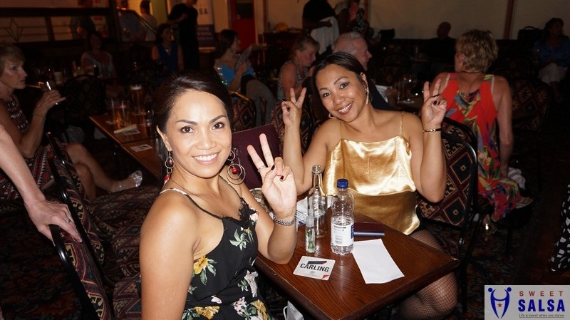 Two female dancers enjoying the party