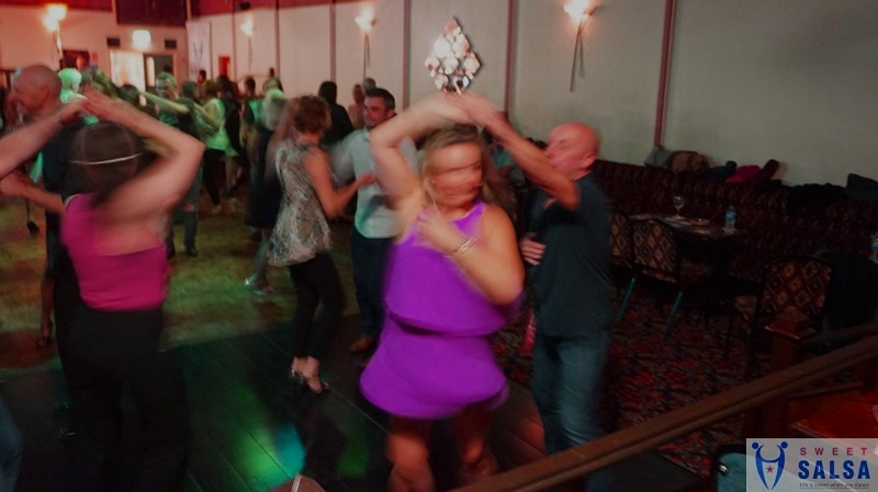 Salsa dancers on the dance floor