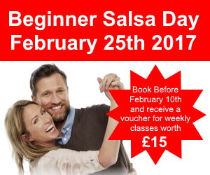 Beginner Salsa Day - couple smiling and dancing